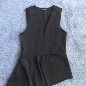 Zara Black Peplum Top